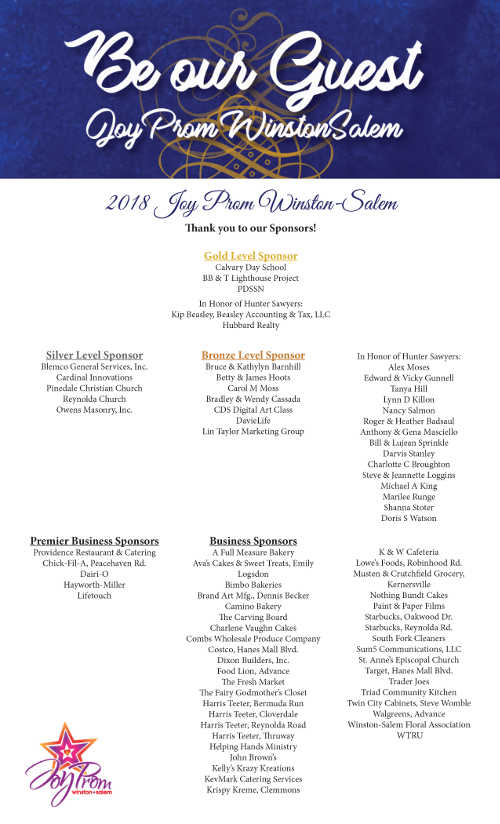 Joy Prom Winston-Salem 2018 Sponsor List